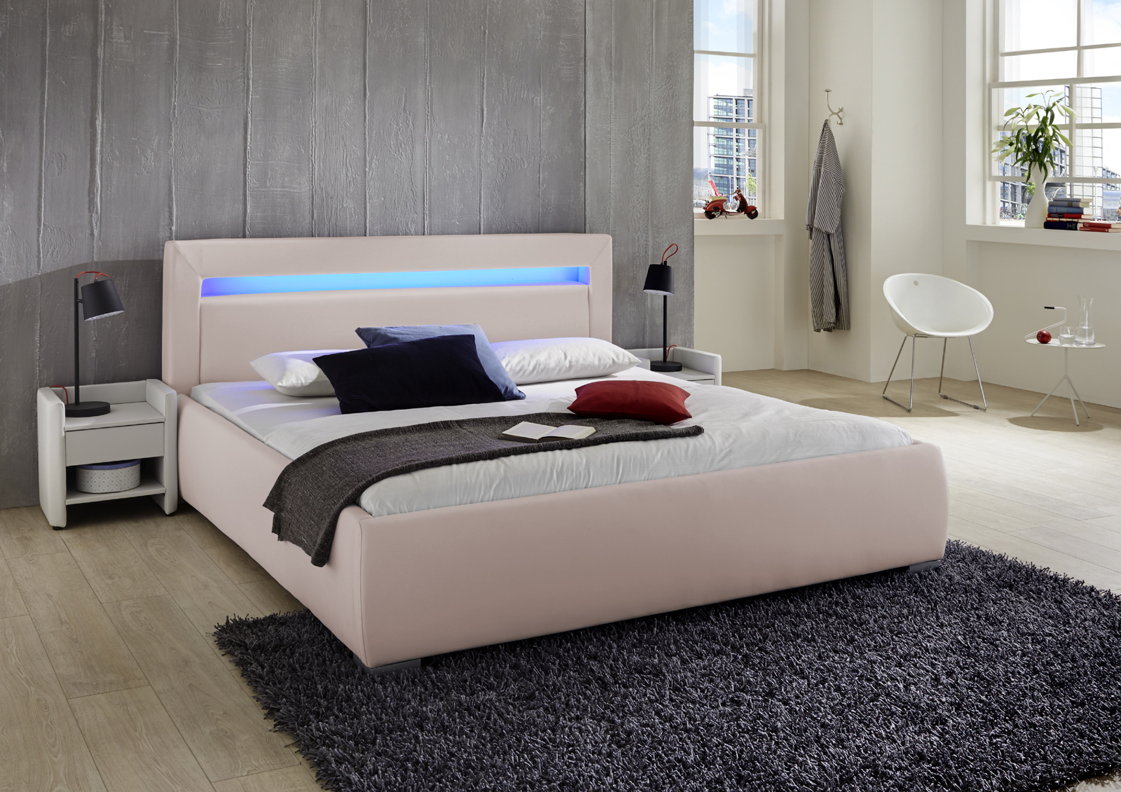 Sam® polsterbett 140 cm lumina led farbauswahl