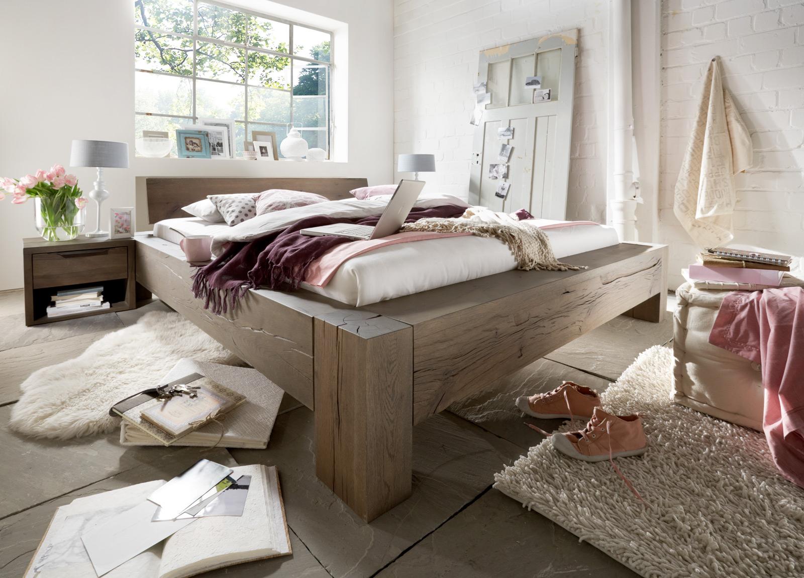 sam balkenbett alma eiche 180x200 cm geschlossen farbauswahl. Black Bedroom Furniture Sets. Home Design Ideas