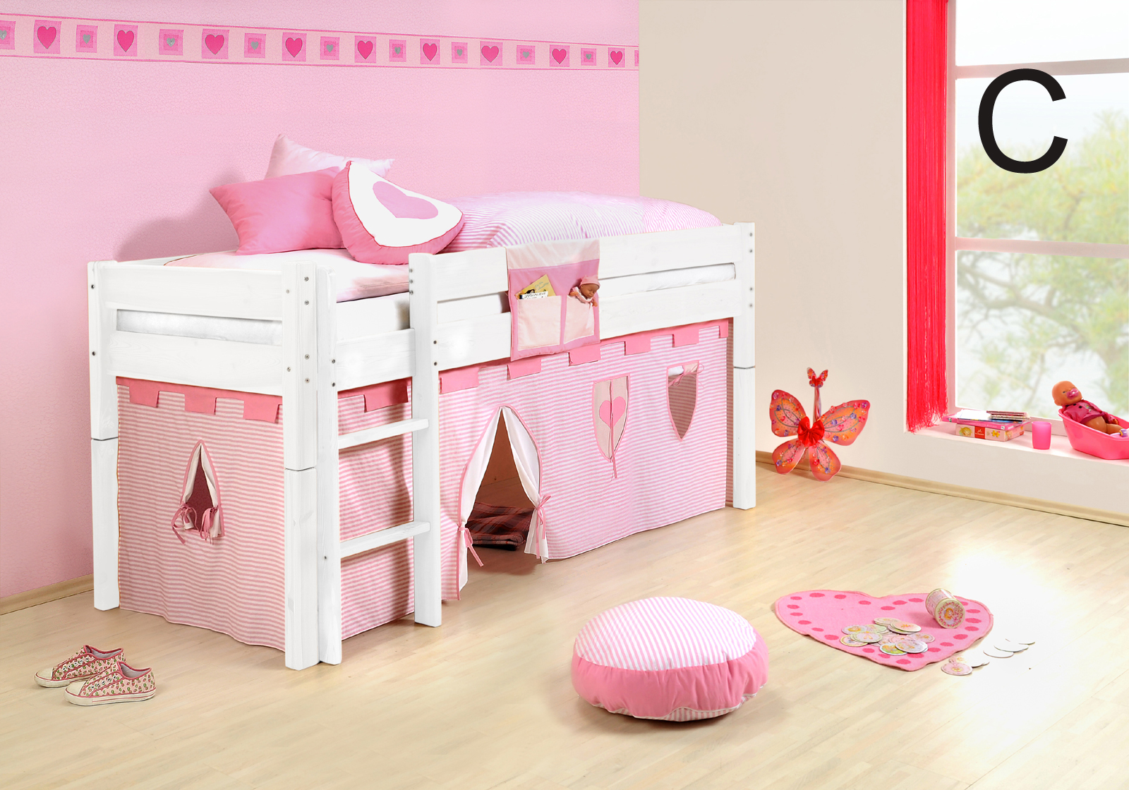 sam kinder spielbett prinzessin i wei gerade massivholz auf lager. Black Bedroom Furniture Sets. Home Design Ideas