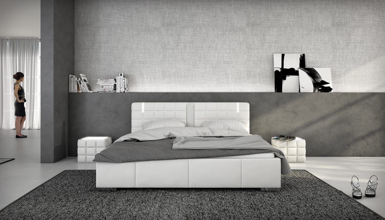 sam polsterbett 180 x 200 cm soundsystem wei cuenca auf. Black Bedroom Furniture Sets. Home Design Ideas