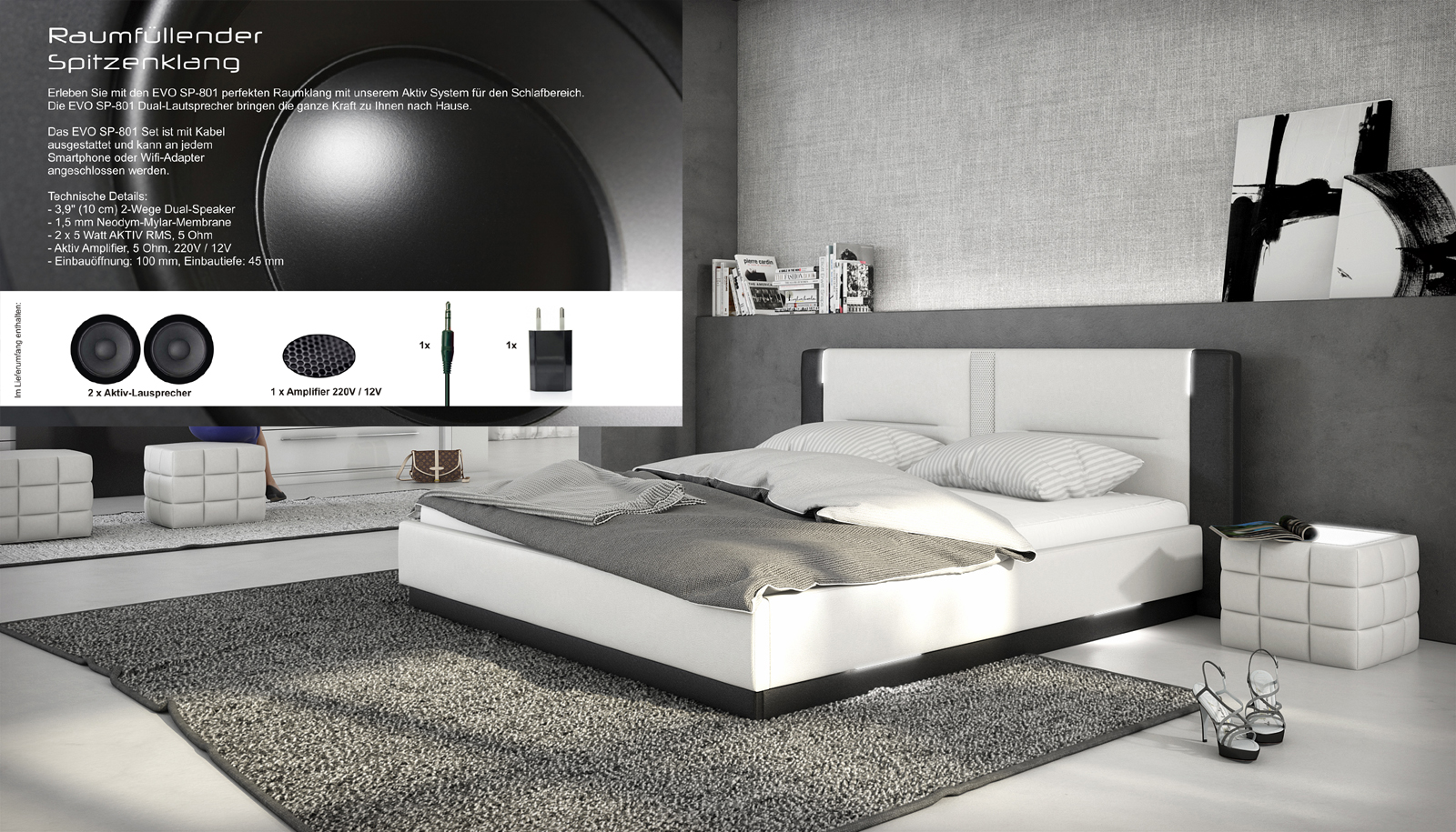 bett santiago 140 x 200 cm wei schwarz mit soundsystem. Black Bedroom Furniture Sets. Home Design Ideas