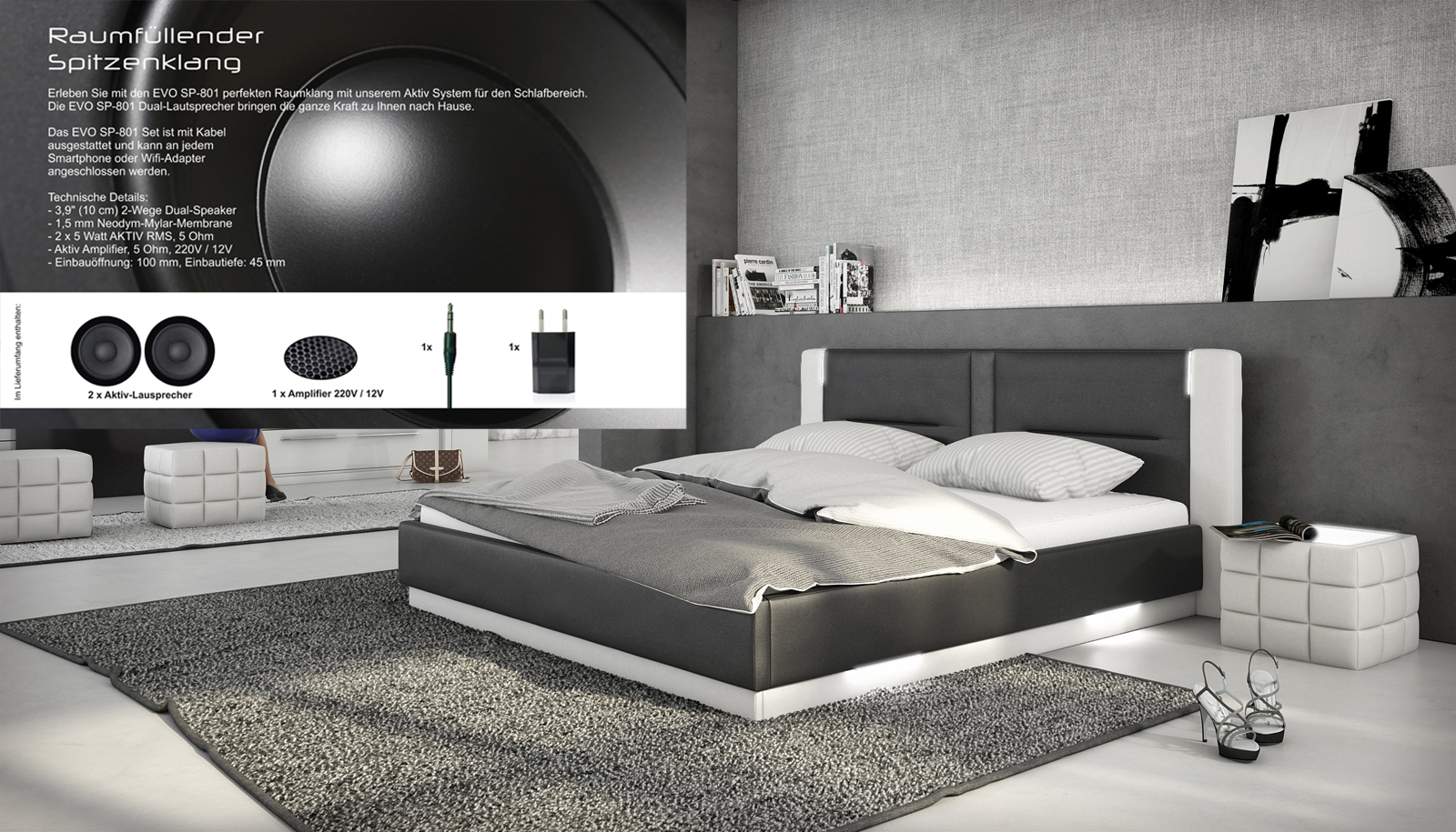 sam polsterbett 140 x 200 cm soundsystem schwarz wei santiago. Black Bedroom Furniture Sets. Home Design Ideas