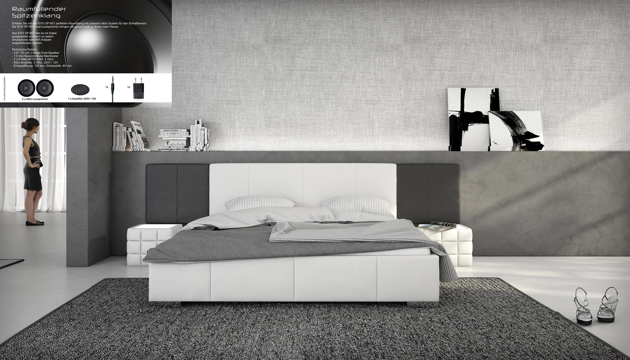 sam polsterbett 180 x 200 cm soundsystem wei schwarz nemo auf lager. Black Bedroom Furniture Sets. Home Design Ideas