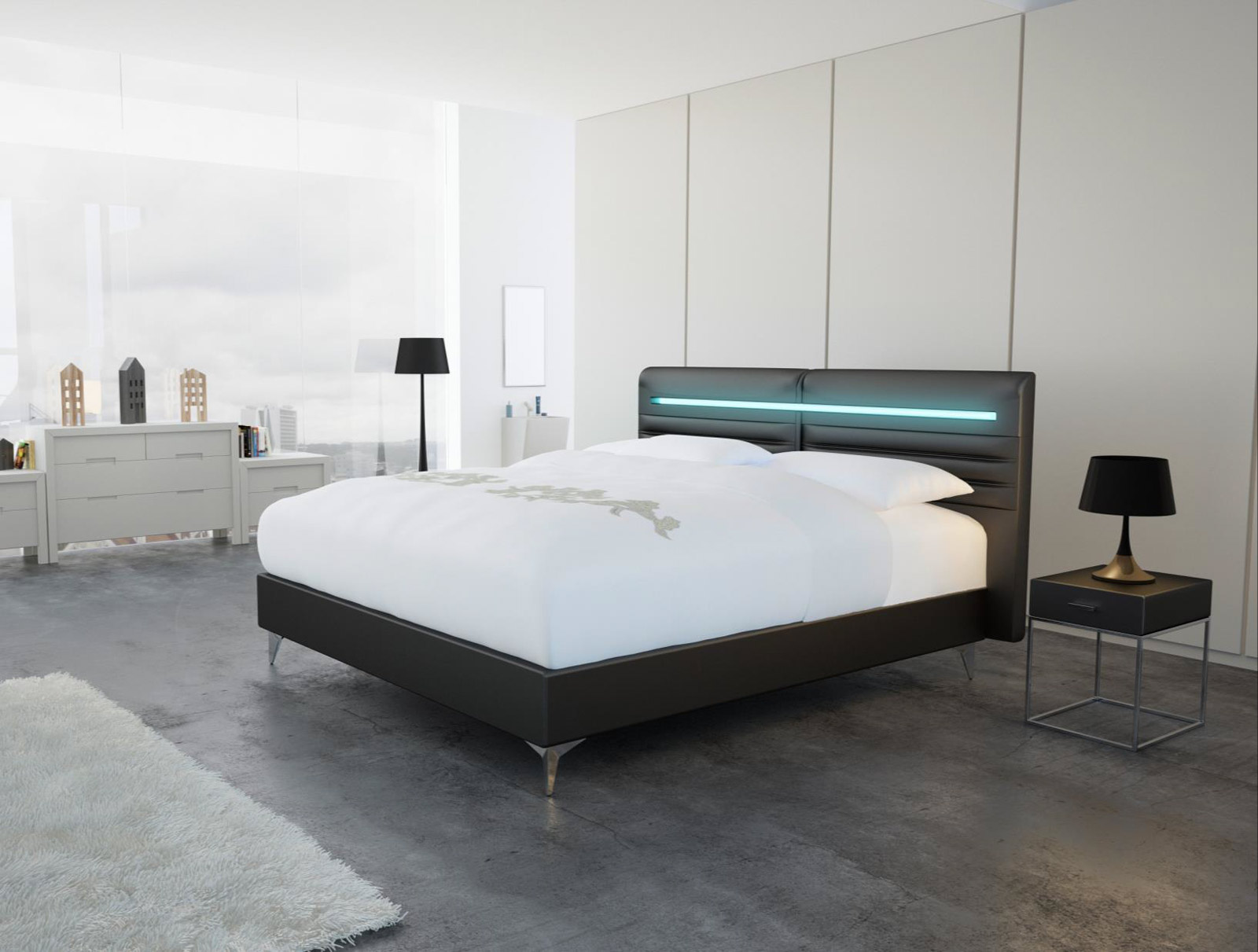 sam design boxspringbett 140 x 200 cm schwarz abbadon luciano. Black Bedroom Furniture Sets. Home Design Ideas