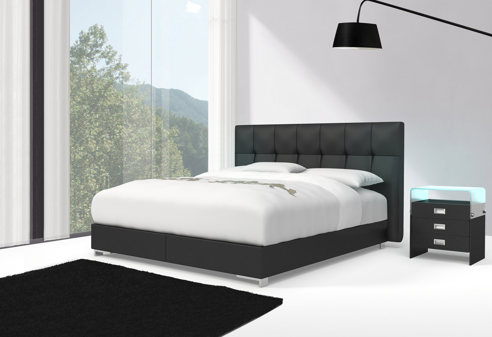 sam design boxspringbett 140 x 200 cm schwarz zarah toledo 27cm. Black Bedroom Furniture Sets. Home Design Ideas