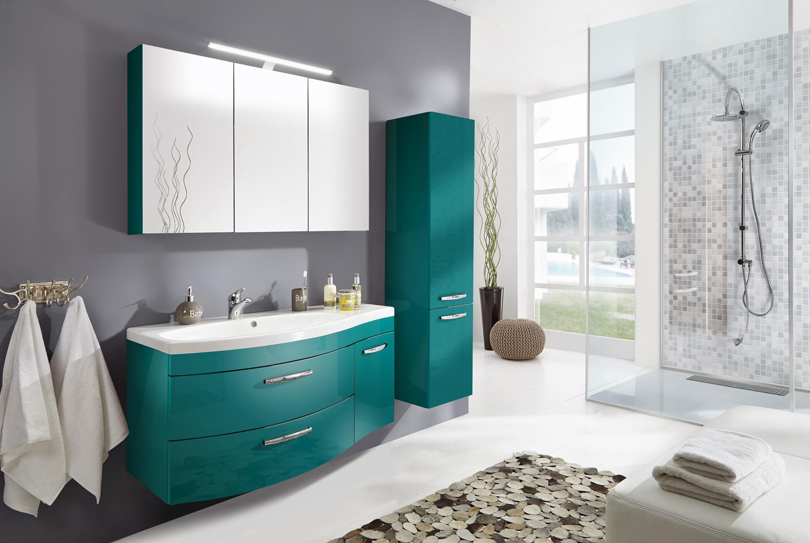 sam badm bel hochglanz t rkis 3tlg spiegelauswahl vena. Black Bedroom Furniture Sets. Home Design Ideas