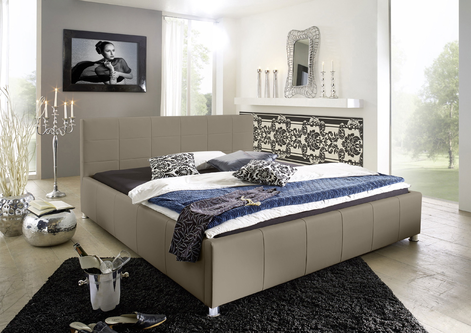 sam polster bett 160 x 200 cm farbauswahl kira bestellware. Black Bedroom Furniture Sets. Home Design Ideas