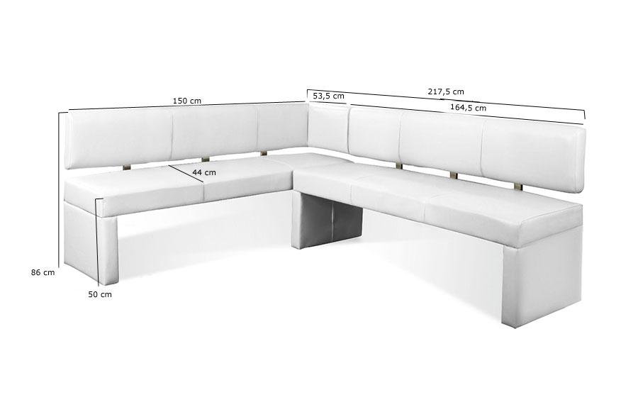 sam eckbank recyceltes leder wei 150 x cm laselena auf lager. Black Bedroom Furniture Sets. Home Design Ideas