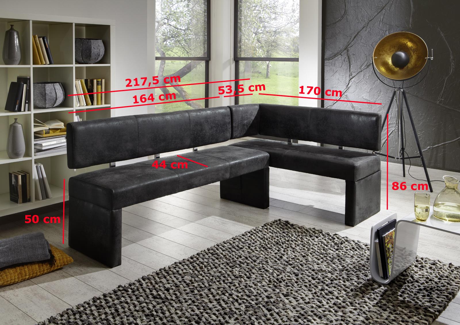 sam eckbank wildlederoptik grau stoff cm x 170 lastella auf lager. Black Bedroom Furniture Sets. Home Design Ideas