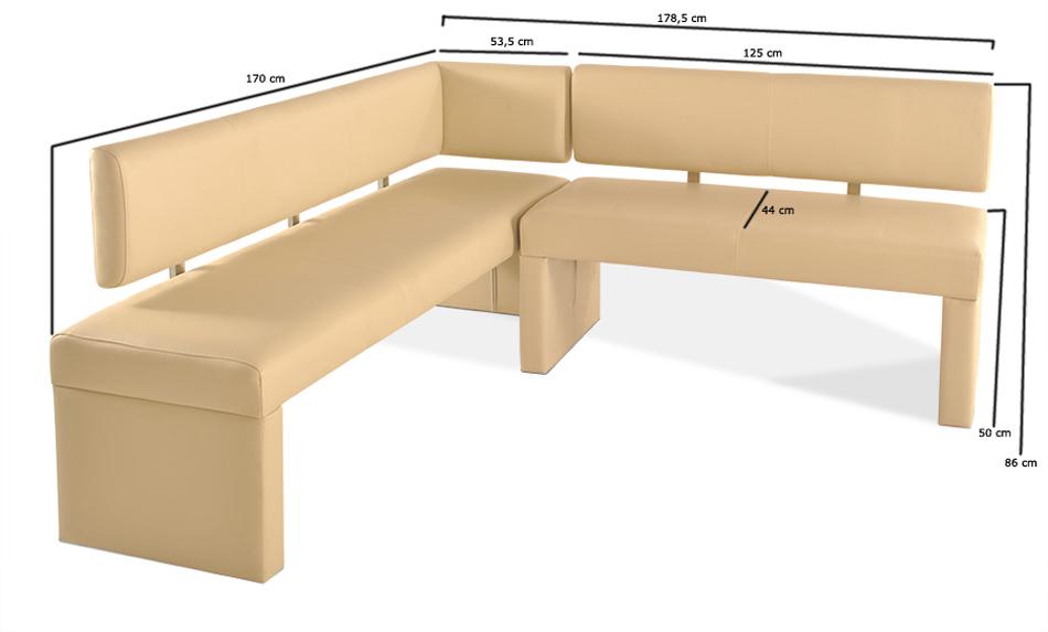 sam eckbank recyceltes leder nach ma creme 170 cm x cm sandra auf lager. Black Bedroom Furniture Sets. Home Design Ideas