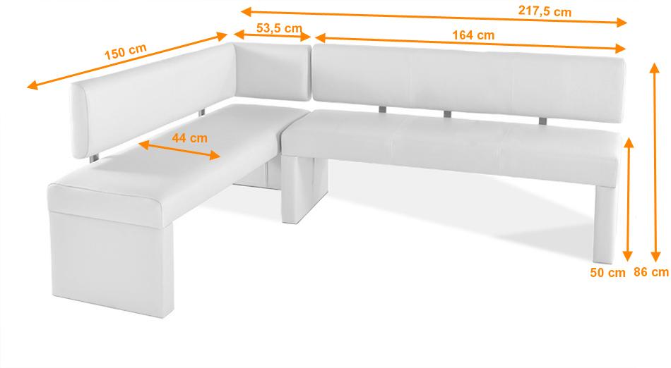 sam eckbank recyceltes leder wei 150 cm x cm selena auf lager. Black Bedroom Furniture Sets. Home Design Ideas