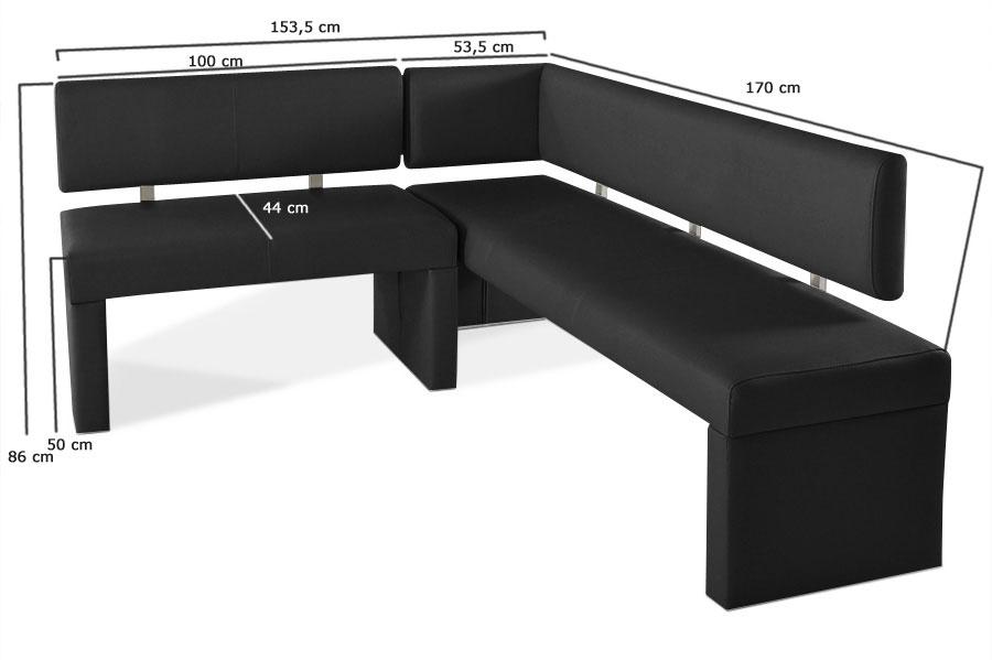 sam eckbank recyceltes leder nach ma schwarz 170 x cm sofia demn chst. Black Bedroom Furniture Sets. Home Design Ideas