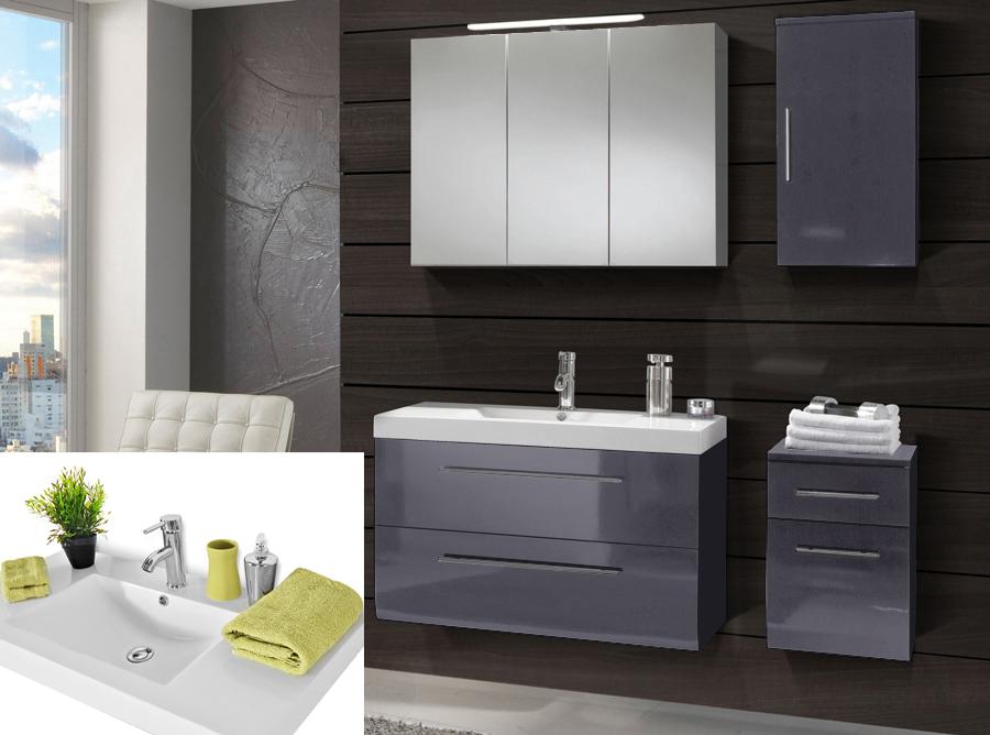 sam badm bel 4tlg grau hochglanz 90cm beckenauswahl z rich. Black Bedroom Furniture Sets. Home Design Ideas
