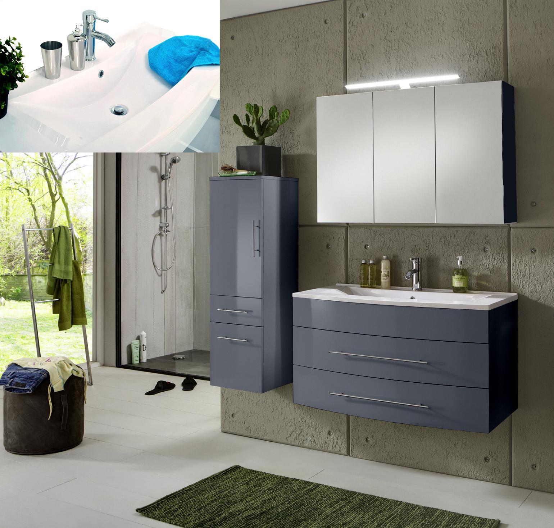 sam badezimmer 3tlg set grau 100 cm beckenauswahl basel. Black Bedroom Furniture Sets. Home Design Ideas