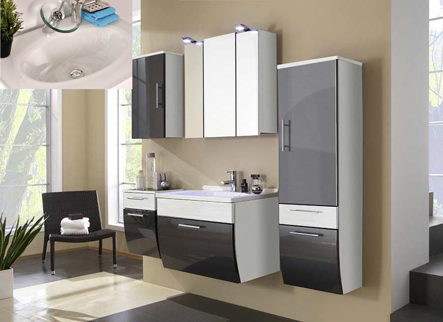 sam badezimmer set santana 2tlg anthrazit 70 cm beckenauswahl. Black Bedroom Furniture Sets. Home Design Ideas