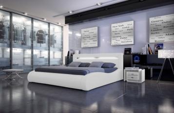 SAM® Polsterbett 180 X 200 Cm Mit LED Beleuchtung Weiß SPRINT II Auf Lager