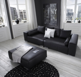 SAM® Big Sofa schwarz 290 cm - Hocker optional - Jupiter Bestellware !
