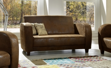 SALE Sofa 2-Sitzer wildleder optik Gobi Couch braun ANTIS