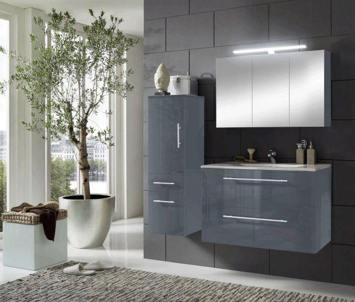 sam 3tlg badezimmer set grau 90 cm rimini spiegelschrank. Black Bedroom Furniture Sets. Home Design Ideas