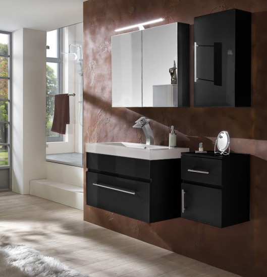 sam 4tlg badezimmer set spiegelschrank schwarz 80 cm lunar auf lager. Black Bedroom Furniture Sets. Home Design Ideas