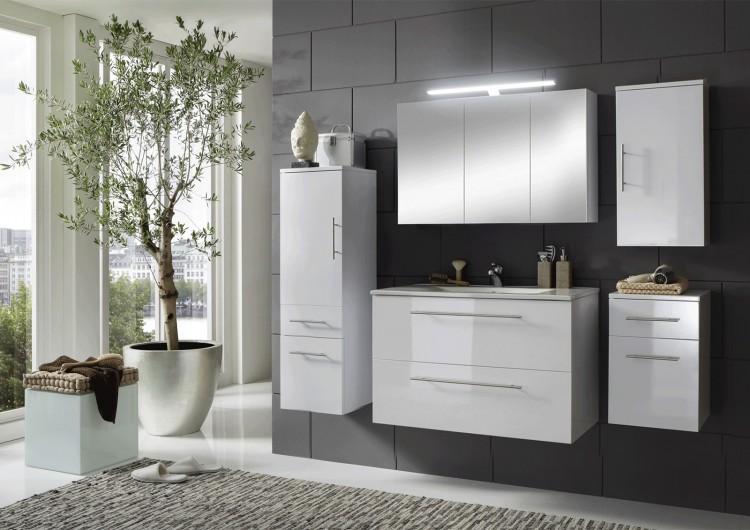 Sam 5tlg badezimmer set wei 90 cm rimini spiegelschrank for Badezimmer 90 cm