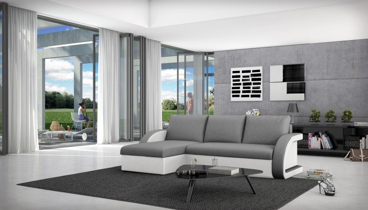 sam schlafsofa grau wei ecksofa antigona 145 x 238 cm auf lager. Black Bedroom Furniture Sets. Home Design Ideas