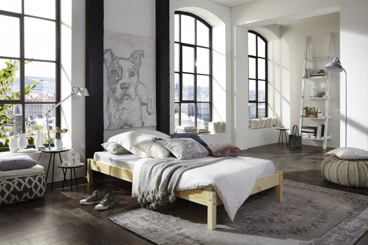 sam holzbett sina natur aus kiefernholz 140 x 200 cm auf lager. Black Bedroom Furniture Sets. Home Design Ideas