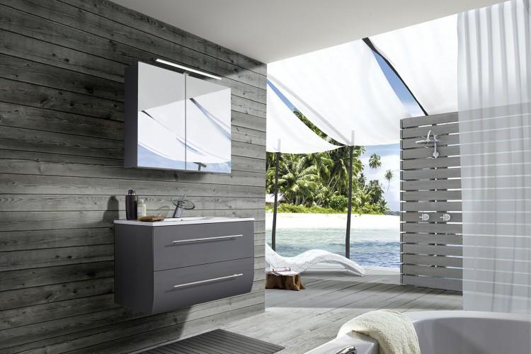sam badezimmerm bel zagona 2tlg grau hochglanz 90 cm auf. Black Bedroom Furniture Sets. Home Design Ideas
