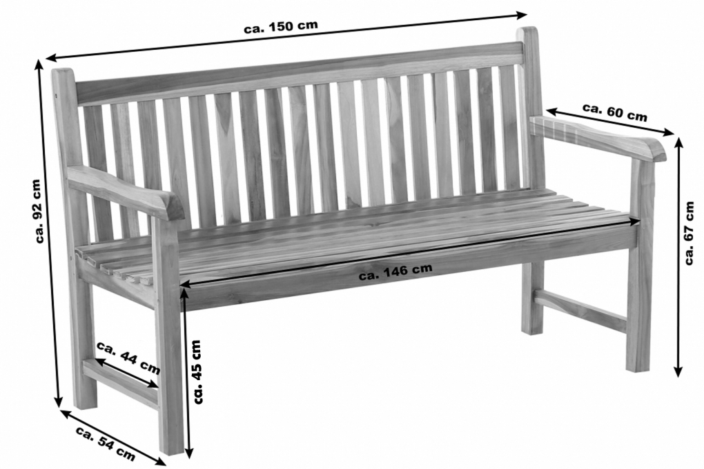 sam gartenbank teak holz 150 cm 3 sitzer caracas demn chst. Black Bedroom Furniture Sets. Home Design Ideas
