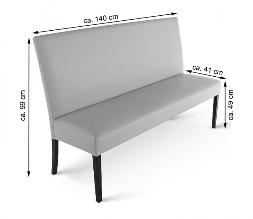 sam esszimmerbank mit lehne 140 cm creme recyceltes leder verona. Black Bedroom Furniture Sets. Home Design Ideas