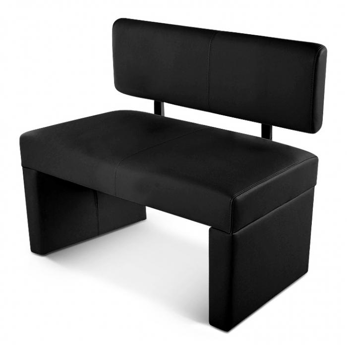 SAM® Sitzbank mit Lehne 100 cm schwarz recyceltes Leder SOFIA