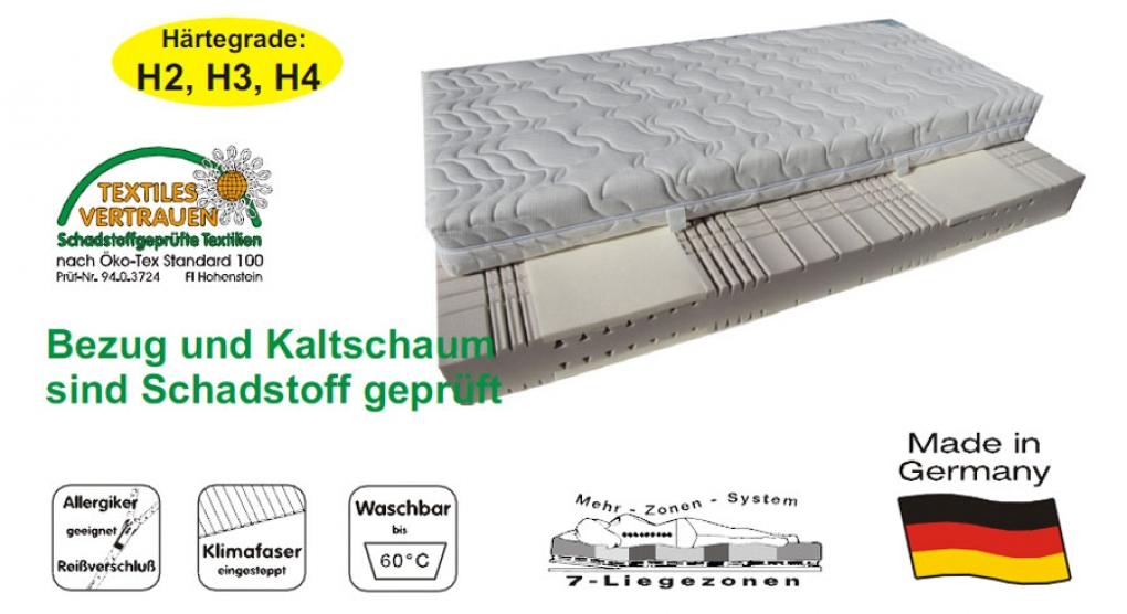 SAM® 7 Zonen Kaltschaum H2 Visco Matratze 100 x 200 cm Passion itemprop=