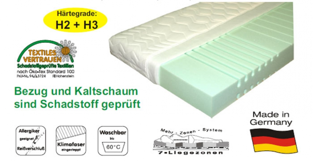 SAM® 7 Zonen Kaltschaum H2 Matratze 90 x 200 cm Sensitive itemprop=