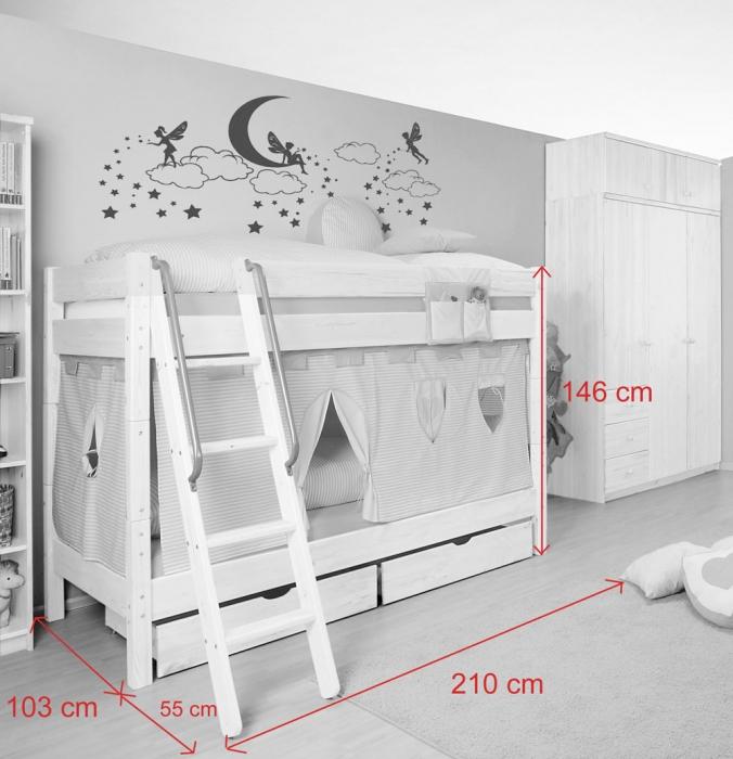 sam kinder etagenbett prinzessin ii wei schr g massivholz demn chst. Black Bedroom Furniture Sets. Home Design Ideas