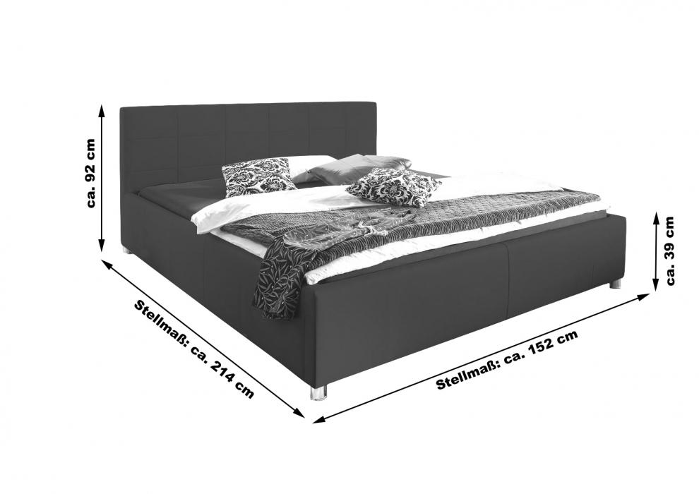 sam bett polsterbett doppelbett schwarz 140 x 200 cm kira. Black Bedroom Furniture Sets. Home Design Ideas