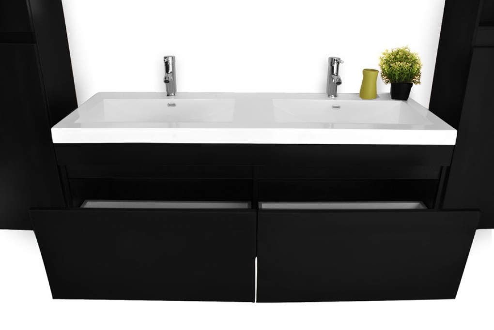 sam badm bel set 4tlg doppelwaschtisch 140 cm schwarz parma. Black Bedroom Furniture Sets. Home Design Ideas