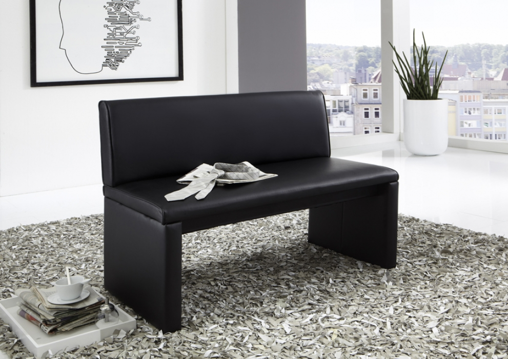 sam sitzbank mit lehne schwarz esszimmerbank recyceltes leder smith. Black Bedroom Furniture Sets. Home Design Ideas
