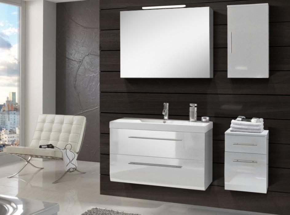 Sam® Badmöbel Set 4Tlg Waschtisch 90 Cm Weiß Hochglanz Zürich Deluxe