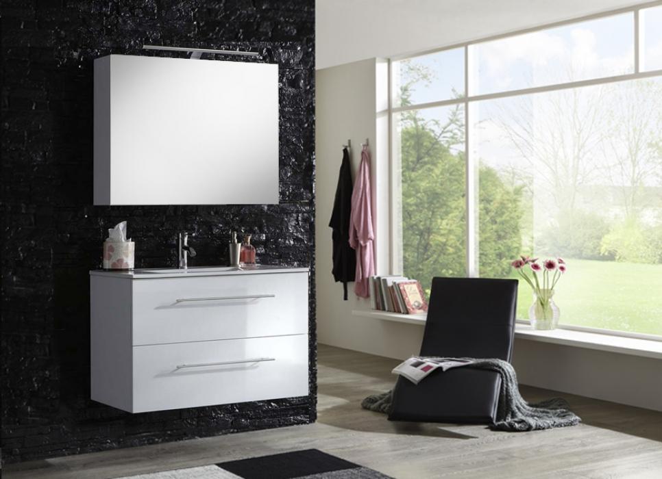 Badmobel 90 Cm ~ Sam® badmöbel set 2tlg waschtisch 90 cm weiß hochglanz basel deluxe