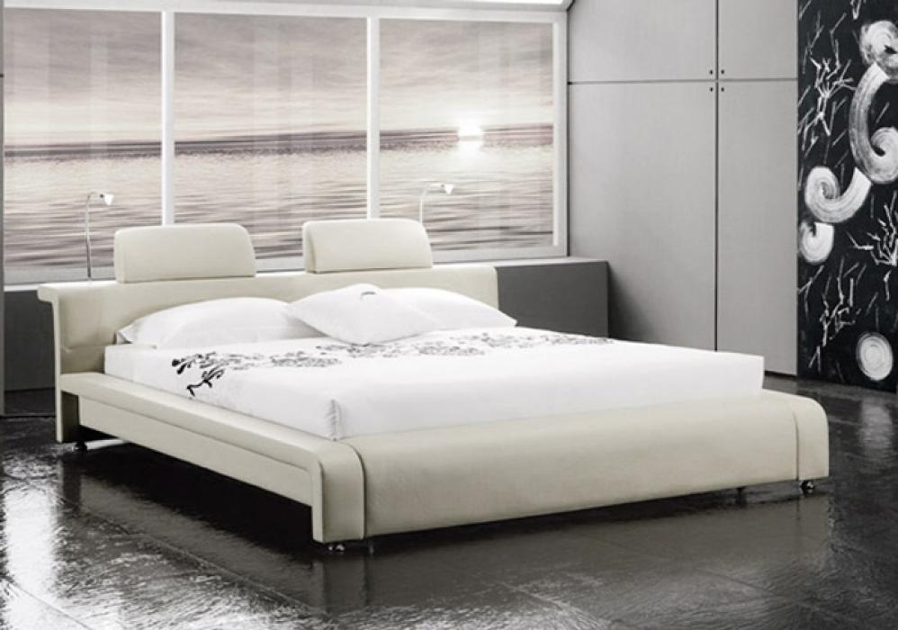 sam polsterbett doppelbett 160x200 cm wei mit beleuchtung classico. Black Bedroom Furniture Sets. Home Design Ideas