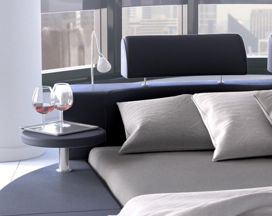 sam rundbett doppelbett 180 x 200 cm 2 leselampen schwarz. Black Bedroom Furniture Sets. Home Design Ideas