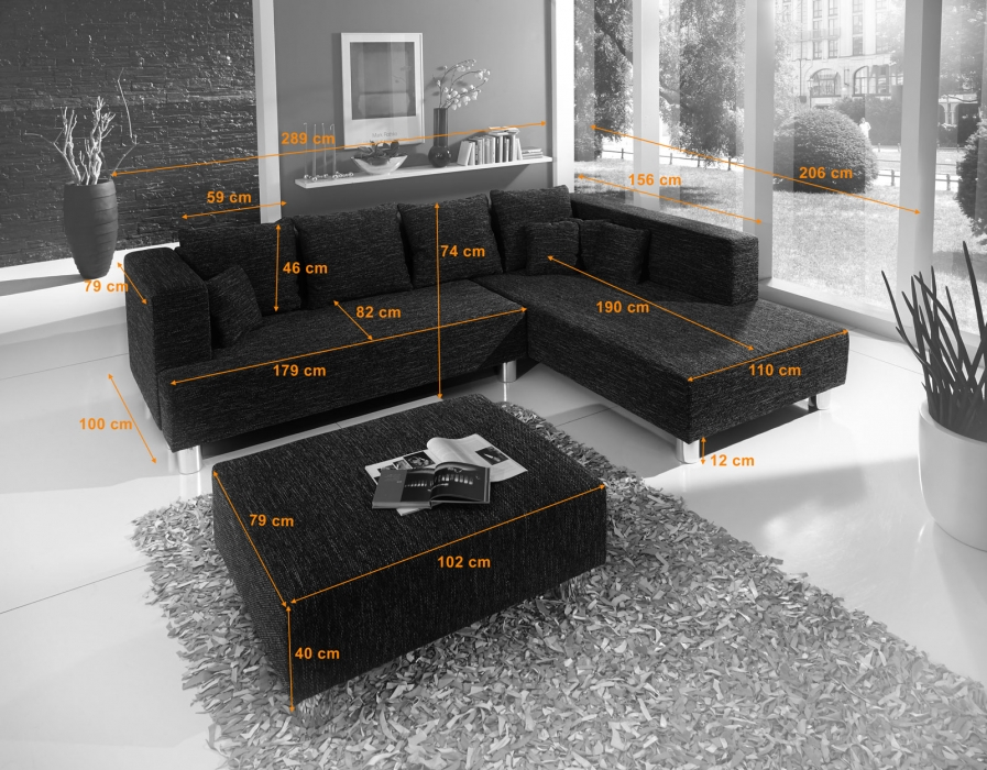 SAM® Ecksofa schwarz - Hocker optional Lori - 289 x 206 cm Bestellware! itemprop=