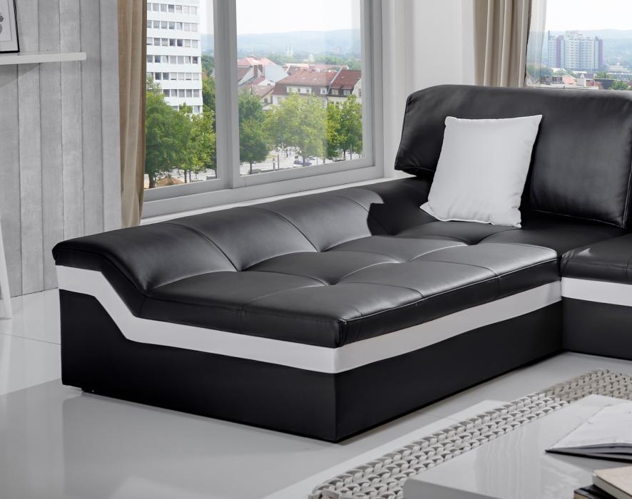 sam couch ecksofa 220 x 270 cm schwarz wei links mistico. Black Bedroom Furniture Sets. Home Design Ideas