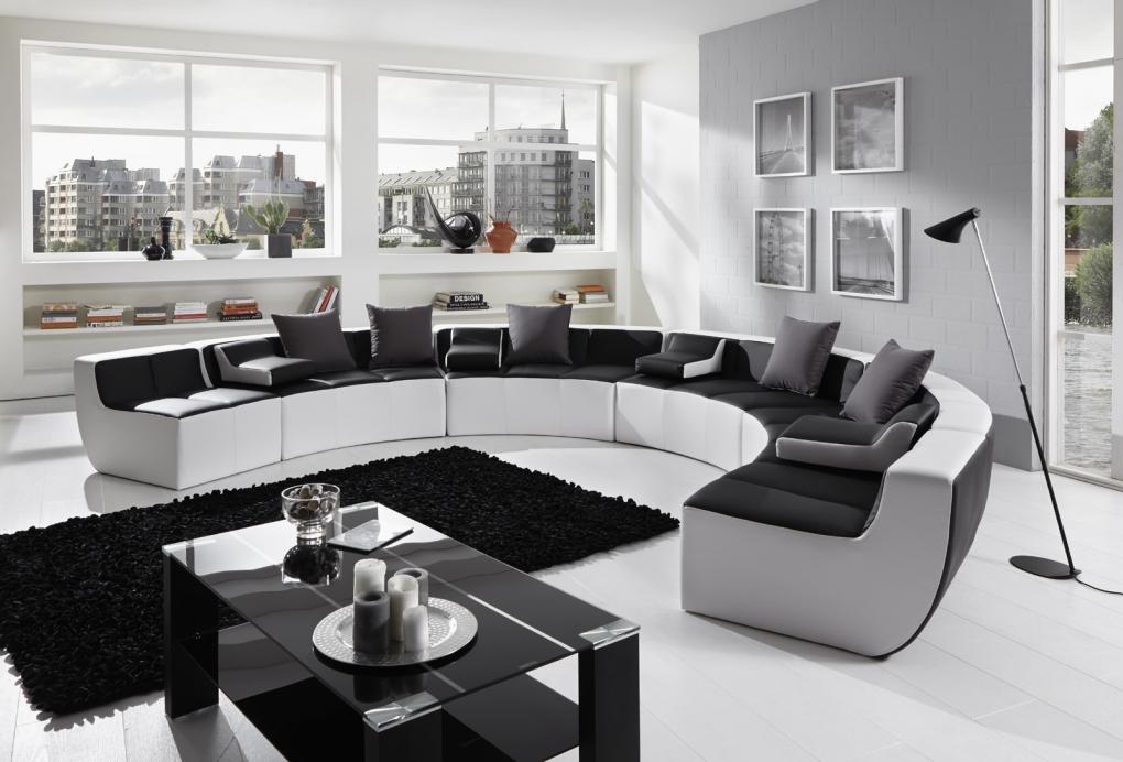 Sam wohnlandschaft schwarz wei tiara rund 265 x 400 x 265 cm for Wohnlandschaft finanzieren