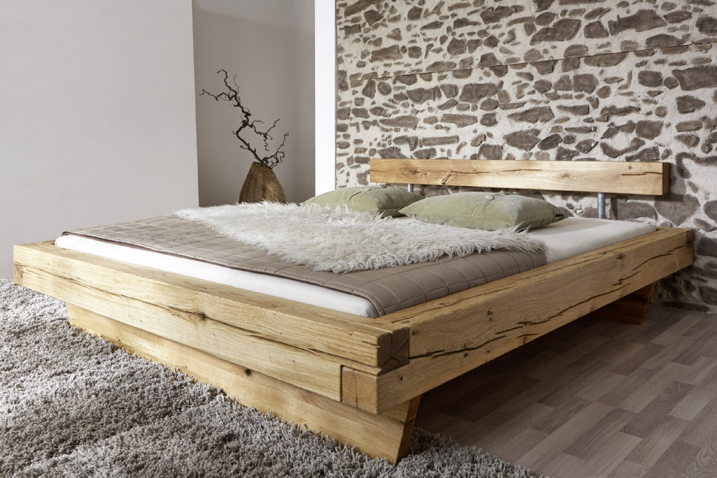 sam balkenbett jakob wildeiche holzbett 160 x 200 cm auf lager. Black Bedroom Furniture Sets. Home Design Ideas