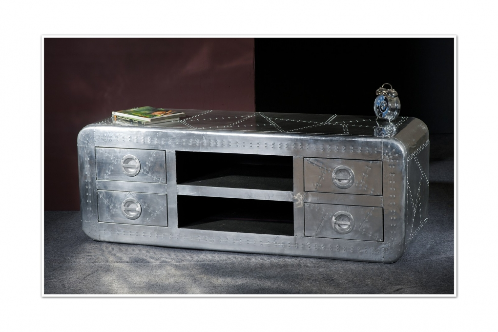 TV Lowboard mit Aluminium 140 x 50 cm Mangoholz Airman 1721 Auf Lager !