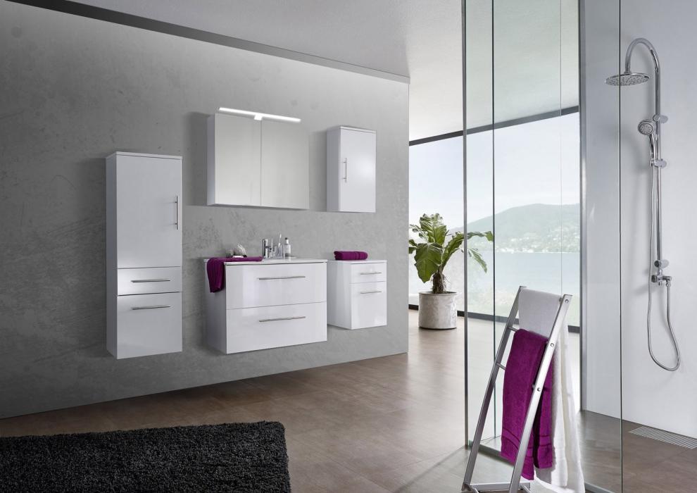 SAM® 5tlg. Badezimmer Set Spiegelschrank weiß 80 cm Verena Demnächst !