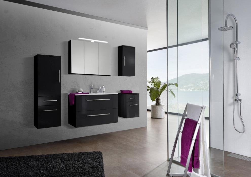 sam® 5tlg. badezimmer set spiegelschrank schwarz 90 cm verena, Badezimmer ideen