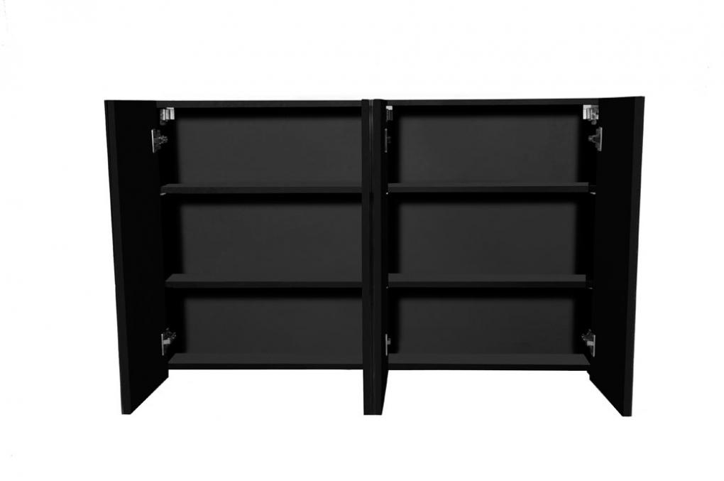 Turbo SAM® 3tlg. Badezimmer Set Spiegelschrank schwarz 120 cm Verena  HM08