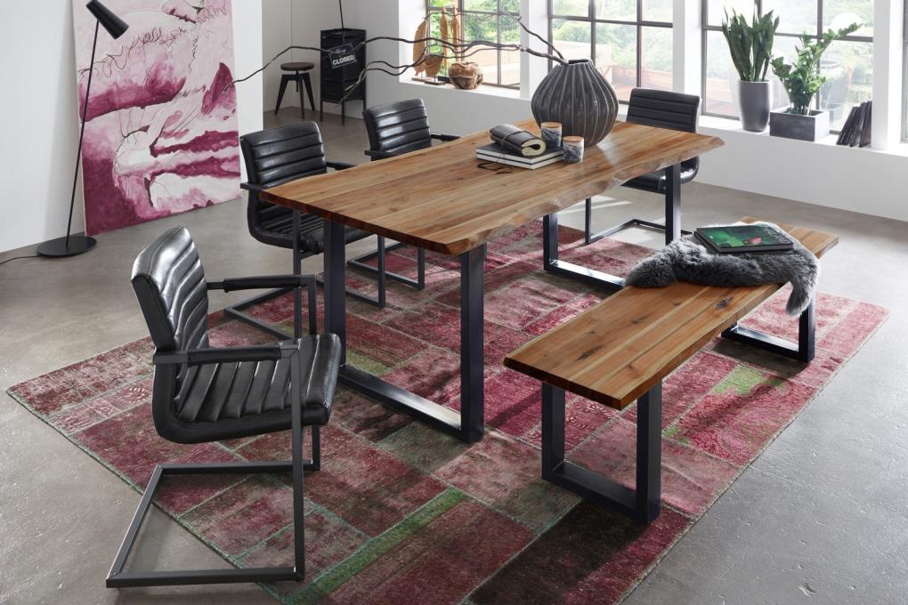 sam essgruppe mit baumkantentisch 180 cm akazie massiv 6. Black Bedroom Furniture Sets. Home Design Ideas
